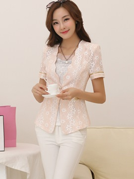 Ericdress Sweet Short Sleeve Lace Blazer