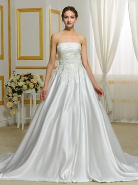 Ericdress Elegant Appliques Strapless A Line Wedding Dress