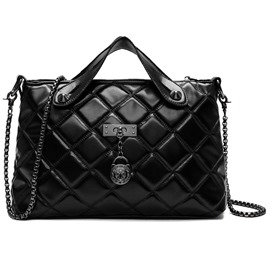 Ericdress Trendy Black Plaid Lamskin Handbag