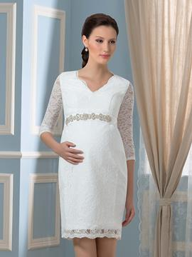 Ericdress Charming Lace Short Maternity Wedding Dress