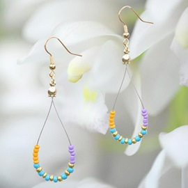 Ericdress Geometric Beaded Alloy Earrings