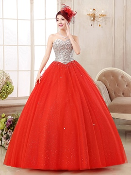 Ericdress Sweetheart Ball Gown Ceystal Sequins Floor-Length Quinceanera Dress