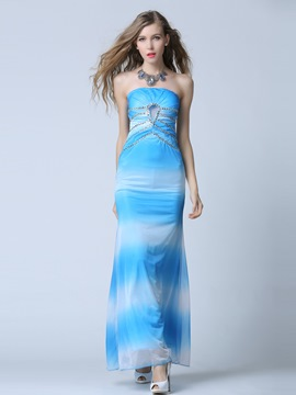 Ericdress Strapless Sheath Beading Crystal Evening Dress