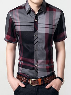 Ericdress Color Block Short Sleeve Plaid Slim Men's Shirt