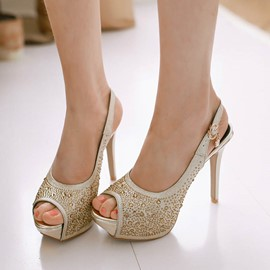 Ericdress Rhinestone Peep-Toe Slingback Stiletto Sandals