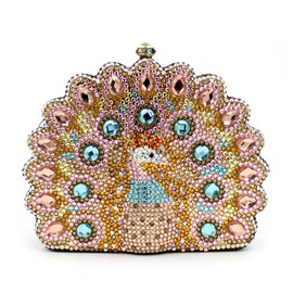 Ericdress Luxury Diamante Peacock Clutch
