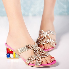 Ericdress Contrast Color Rhinestone Mules Shoes