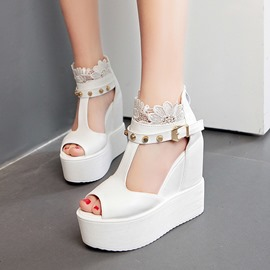 Ericdress Lace T Strap Wedge Sandals