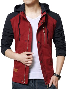 Ericdress Color Block Hooded Men's Jacket