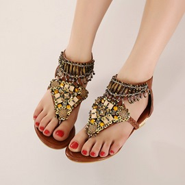 Ericdress Beaded Thong Flat Sandals