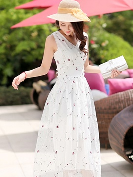 Ericdress Sleeveless Print Expansion Maxi Dress