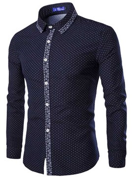 Ericdress Polka Dots Long Sleeve Vintage Print Men's Shirt