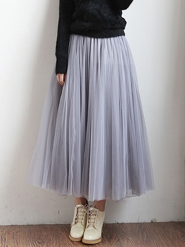 Ericdress Pleated Soild Color Expansion Usual Skirts