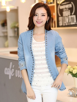 Ericdress Simple Cardigan Denim Outerwear