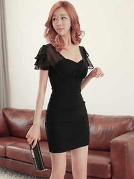 Ericdress Ladylike Sheath Little Black Dress