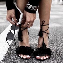 Ericdress Suede Tassels Lace-Up Stiletto Sandals