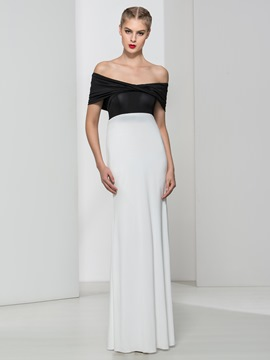 Ericdress Sheath Off-the-Shoulder Draped Floor-Length Evening Dress