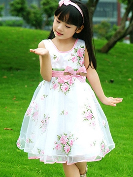 Ericdress Sleeveless Floral Print Girls Dress