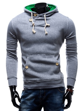 Ericdress Solid Color Pullover Casual Men's Hoodie