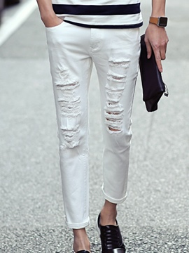 Ericdress Street Style White Holes Casual Men's Pants