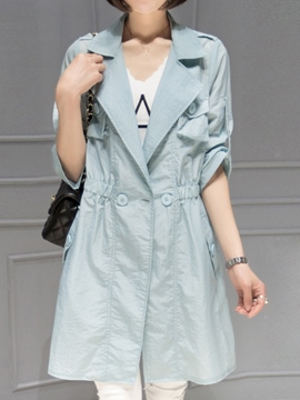 Ericdress Notched Lapel Thin Trench Coat