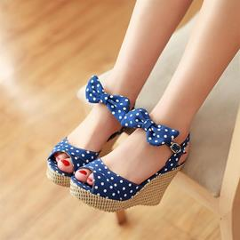 Ericdress Sweet Dots Peep Toe Wedge Sandals