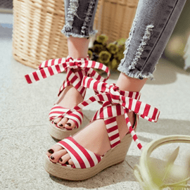 Ericdress Sweet Bowtie Strip Wedge Sandals