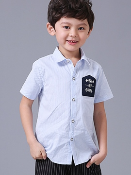 Ericdress Stripe Single-Breasted Boys Shirt