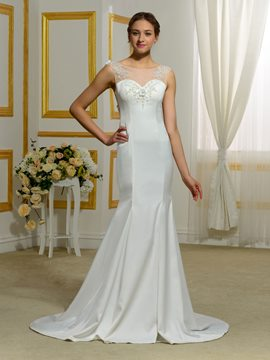 Ericdress Beautiful Sheer Back Mermaid Wedding Dress