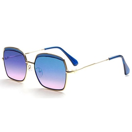 Square Multicolor Metal Frame Sunglasses