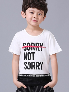 Ericdress Letter Boys Short Sleeve T-Shirt