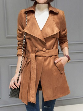 Ericdress Elegant Lace-Up Double-Breasted Trench Coat