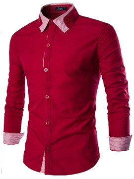 Ericdress Patchwork Collar Long Sleeve Men's Shirt