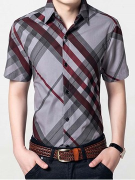 Ericdress Stripe Printed Casual Men's Shirt