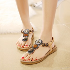 Ericdress Beaded Elastic Band Slingback Flat Sandals