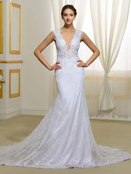 Ericdress Sexy V Neck Sheer Back Lace Mermaid Wedding Dress