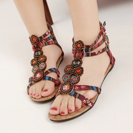 Ericdress Roman Ethnic Beaded Flat Sandals