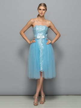 Ericdress Strapless Appliques Knee-Length Prom Dress