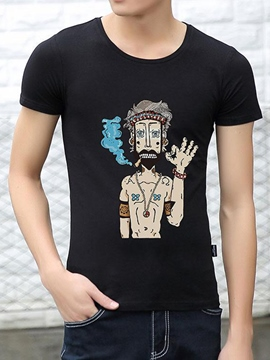 Ericdress Cartoon Print Slim Men's T-Shirt