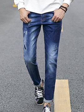 Ericdress Denim Holes Casual Men's Pants