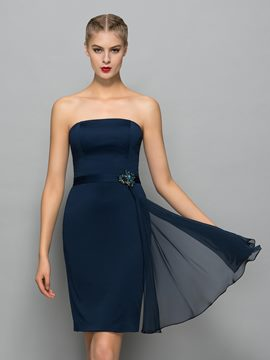 Ericdress Strapless Mantel Sicke Schärpen Mini Cocktailkleid