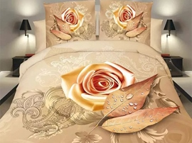 Ericdress Beautiful Orange Rose Print 3D Bedding Sets