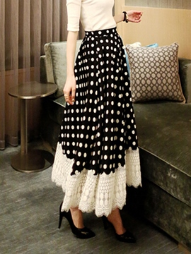 Ericdress Polka Dots Expansion Maxi Skirt