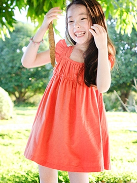 Ericdress Solid Color Square Neck Girls Dress