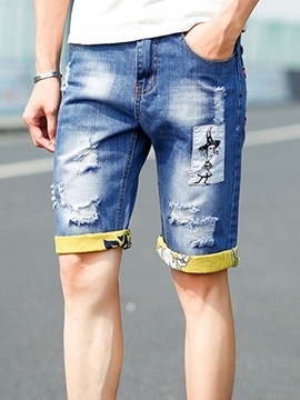 Ericdress Holes Cartoon Print Men's Shorts