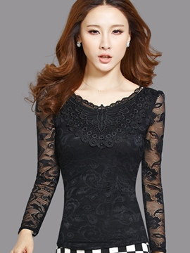 Ericdress Slim Solid Color Lace T-Shirt