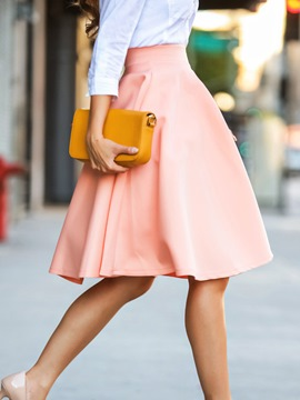Ericdress Solid Color A-Line Usual Skirt