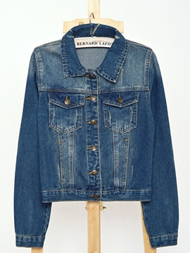 Ericdress Simple Single-Breasted Denim Jacket