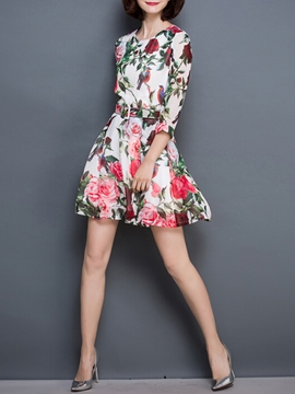 Ericdress OL Floral Print Belt Casual Dress