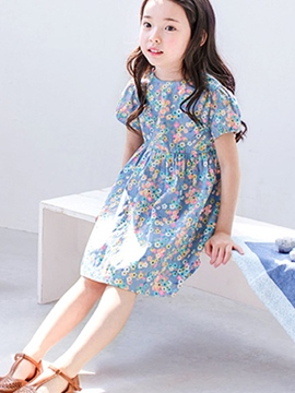 Ericdress Floral Print Short Sleeve Girls Dress